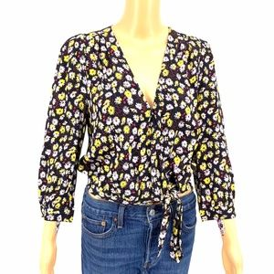 Madewell Floral Wrap Top Black Yellow Tie Front
